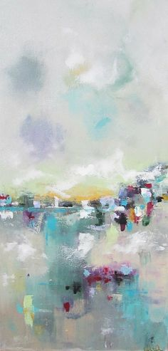 Colorful Skyline Cityscape Abstract Original Painting - City Color 18 x 36