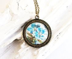 Baby blue flowers  circle glass dome  antique by TACEHandmade, €13.00