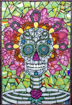 This listing is for a Giclée Fine Art Print of Lolo -Day of the Dead Sugar Skull  • Printed on Reflections Metallic Gloss Paper • Printed with Epson UltraChrome K3 with Vivid Magenta inks • Hand signed in the white border • packaged with foam board backing sealed in a protective clear bag • 11x14 print - matted to fit an 16x20 frame  _____________________________________________________________________________   Original mosaic info:  Title: Lolo - Day of the Dead Sugar Skull Medium: mosaic…