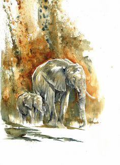"""""""fall"""" - watercolor 2015 - www.annikafunke.org - #watercolor #elephants #joy #wildlife art #art #painting #africa"""