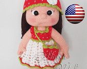 PATTERN - Mia Doll With Starwberry Dress (crochet, amigurumi)