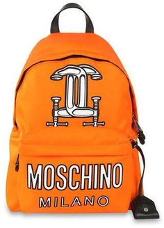 Moschino Logo-Print Tech-Fabric Backpack, Orange  ON SALE: Was $1200.00 Reduced to: $840.00  30% OFF