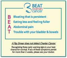 Ovarian Cancer Awareness ~ Know and share the BEAT it could save a life ****** Beat Ovarian Cancer