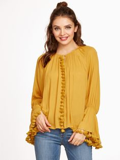 Shop Mustard Bell Sleeve Tassel Trim Blouse online. SheIn offers Mustard Bell Sleeve Tassel Trim Blouse & more to fit your fashionable needs.