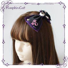 Creepy Sugar Lolita Bow (2020) in purple/black by Pumpkin Cat