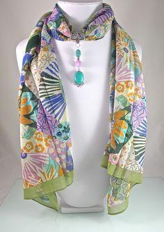 Bijou de foulard sur bélière avec foulard, turquoise, jade et métal argenté - 260115-BJ-006 : Echarpe, foulard, cravate par si-mes-perles-etaient-contees