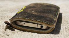 """iPhone Sleeve. Vintage, Upcycled min. 50 Years old bavarian """"Lederhosen"""" (Leather Trousers) #bayern #bavaria #upcycled #vintage"""