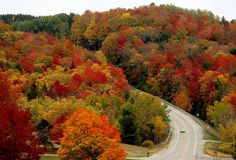 Colorful leaves are visible as a motorist travels on M-72 in Leelanau County, Mich. (AP Photo/Traverse City Record-Eagle, Keith King)