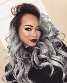 New Style Gray Ombre Hair Color Trend For Dark Hairs - Frisuren Trends Grey Dyed Hair, Grey Ombre Hair, Black Ombre, Balayage Hair, Human Hair Wigs, Hair Trends, New Hair, Hair Inspiration, Hair Beauty