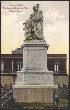 Statue of Christopher Columbus (Cristobal Colon) in Lima, Peru on Columbus Boulevard (Paseo Colon). Postcard published by J. Andreu and E. A. Magot (image #6756).
