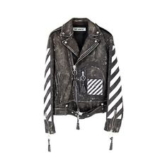 OFF WHITE LEATHER MOTO JACKET BLACK WHITE (€3.030) ❤ liked on Polyvore featuring outerwear, jackets, motorcycle jacket, leather motorcycle jacket, biker jackets, genuine leather biker jacket and black and white leather jacket
