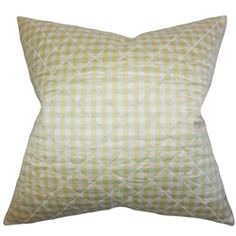 """This toss pillow offer comfort and support to your sofa, bed or accent chair. This throw pillow is adorned with a classic plaid pattern in shades of white and gold. Make your living room or bedroom a place for relaxation. Constructed with 100% high-quality silk material, this 18"""" pillow is made to last for a long time. $55.00 #throwpillow #homedecor #interiorstyling #gold"""
