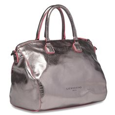 """Liebeskind Berlin Aspen Bag in Metallic Grey Preloved Liebeskind Berlin Aspen Satchel in metallic grey with pink/coral piping. Top handle style bag with optional shoulder strap in excellent condition. Was purchased on a trip to Germany but I don't use it anymore so I'd like to give it a new home. Interior has one zip pocket and 2 cell phone sized pockets. Includes dust bag. Note: first photo is not my own, but is the most accurate representation of color. PM for additional photos. 11.5""""W x…"""