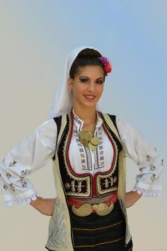 Europe | Portrait of a woman wearing traditional clothes, Uzice Area, Serbia