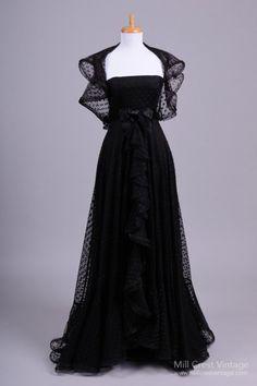 Formal Gown, Richilene New York: 1970's-1980's, polka dotted black tulle.