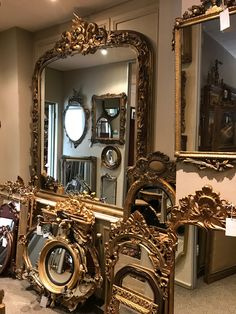 We have the largest collection of mirrors, antique, vintage and contemporary in all shapes, colors and sizes! Choose from our collection of over 315 mirrors: www.thecrowncollection.co.za/product-category/mirrors/ Gold Framed Mirror, French Mirror, Metal Mirror, Diy Mirror, Wall Mirror, Large Vintage Mirror, Vintage Mirrors, Luxury Mirror, Antique Interior