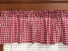 Country Red Gingham Kitchen Valance Extra Wide 72