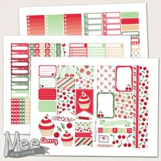 Printable planner stickers for use with The Happy planner,Red Cherry cupcake planner stickers,Weekly sticker kit,Summer fruit sticker set by MeeDigiScrap on Etsy