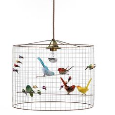 La Volière Small Bird Cage Pendant by Mathieu Challières Chandelier Table Lamp, Birdcage Chandelier, Ceiling Lamp, Pendant Lamp, Ceiling Lights, Birdcage Light, Small Bird Cage, Small Birds, Suspension Design