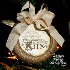 Twine wrapped canning jar ring ornament by: … LOVE this--could print some type of saying or verse in the middle! Family Christmas Ornaments, Diy Christmas Ornaments, Christmas Projects, All Things Christmas, Christmas Holidays, Christmas Decorations, Ornament Crafts, Handmade Ornaments, Christmas Ideas
