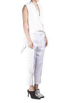 Haider Ackermann Ivory Linen Tailored Trouser #Shopafar #HaiderAckermann #white #ss15 #luxury #fashion #details #lace