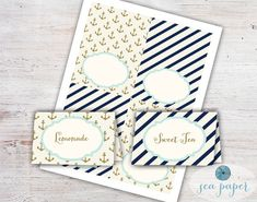 Buffet Cards - Food Labels - Meal Cards - DIY Printable Instant Download: Nautical Navy Stripes and Gold Anchors - Beach and Coastal