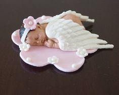 Items similar to FONDANT BABY ANGEL - baby angel for baptisms, first communion, first baby and more. White fondant angel wings on Etsy - Fondant Baby with Wings, Sleeping Baby Cake Topper, Angel Baby Cake Topper - Fondant Flower Cake, Fondant Bow, Fondant Cakes, Boho Baby Shower, Baby Shower Cakes, Baby Cake Topper, Cake Toppers, Cake Icing Tips, Fondant Figures Tutorial