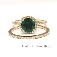 $628 Round Emerald Engagement Ring Sets Pave Diamond Wedding 14k Rose Gold 7mm