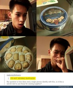 Everyone uses them for sewing supplies, it's the law - Funny tumblr post