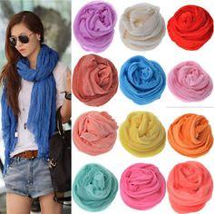 2016 Fashion Womens Fashion Pure Candy Color Crinkle Soft Scarf Wrap Shawl | eBay