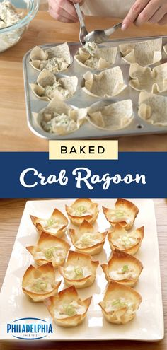 Baked Crab Rangoon – Need to be party-ready? Learn how to make these crispy Baked Crab Rangoons filled with creamy crabmeat! This Healthy Living appetizer recipe is sure to elevate any celebration. Finger Food Appetizers, Appetizers For Party, Appetizer Dips, Party Snacks, Appetizer Recipes, Finger Foods, Snack Recipes, Dinner Recipes, Healthy Recipes