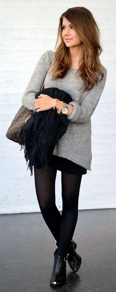 Marianna Mäkelä : grey knit sweater, mini black skirt, black scarf, black tights, Louis Vuitton Neverfull bag