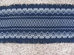 Items similar to Christmas Angel Table Runner - Navy Blue Cloth - Swedish Weaving on Etsy