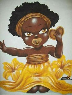 Baby Oxum Orishas Yoruba, Black Little Girls, African Art Paintings, Black Anime Characters, Black Love Art, Black Goddess, Black Artwork, 49er, Afro Art