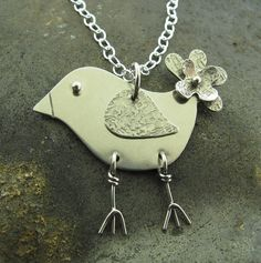 Be Happy Silver Bird Necklace by Kathryn by KathrynRiechert