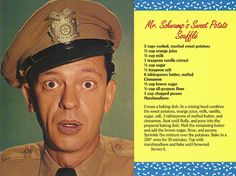 Mayberry Mr. Schwump's Sweet Potato Souffle Recipe Postcard