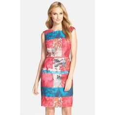Adrianna Papell Floral Stripe Sheath Dress featuring polyvore fashion clothing dresses petite red multi adrianna papell dresses red floral dress floral print dress red sheath dress petite dresses