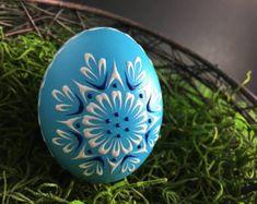 Easter Egg Pysanka in Aqua Hand Painted Duck Egg Wax