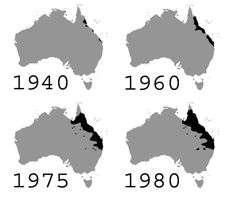 This map shows the progression of the cane toad population over 40 years. | 29 Maps Of Australia That Will Kinda Blow Your Mind