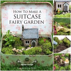 How to make a SUITCASE Fairy Garden - easy tutorial. Great way for kids to enjoy gardening. #fairygarden