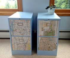 We just bought a secondhand filing cabinet ($10!) and want to paint it. Thinking of doing black, with chalkboard paint on the sides (for use with a chalk pen), then mod podge maps to the drawers.