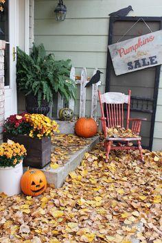 Halloween porch decorating