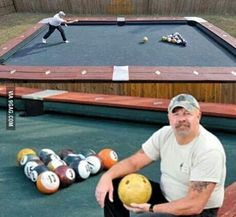 This is redneck and fantastic!  Pool + bowling? An idea like this could only spawn from Wisconsin ;) hahaha!