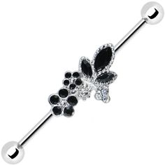 Clear Black Gem Floral Bouquet Industrial Barbell 37mm #industrial #piercing #bodycandy $7.99