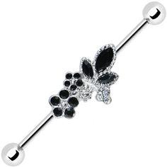 Clear Black Gem Floral Bouquet Industrial Barbell 37mm #industrial #piercing #bodycandy $7.99