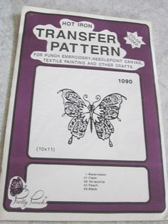 Iron on Transfer Pattern Pretty Punch Butterfly #1090