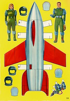 Dreams of Space - Books and Ephemera: Spaceport U. :The art Paper Dolls Book, Vintage Paper Dolls, Paper Toys, Science Fiction, Papercraft Anime, Gravure Illustration, Book Illustration, Retro Rocket, Space Books