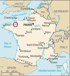 eca04437013de2 Map of France showing Saint Malo and Mont Saint-Michel in Brittany Paris  France