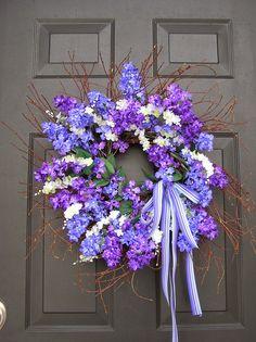 Purple + White + Spring + Easter + Door Wreath