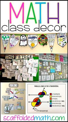 Are you looking for math classroom decor ideas? In this post there are ideas for decorating elementary, middle and high school math classrooms. Includes links to free pdf posters, math word walls and other fun ideas to add to your math classroom decor. Maths Classroom Displays, Maths Display, Classroom Posters, Classroom Door, Math Teacher, Teaching Math, Teaching Ideas, Slimming World, Math Classroom Decorations